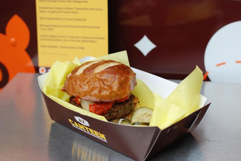 Andrew Zimmern's food truck, AZ Canteen, featured a burger made of ground goat meat called the Cabrito Burger, and it was the top seller for all three years the truck was in business. (Andrew Zimmern)