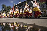 A parade in Christiania to mark 50 years since its founding (AFP/Mads Claus Rasmussen)