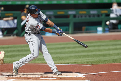 Detroit Tigers' Miguel Cabrera hits a two run home run in the first inning of a baseball game against the Pittsburgh Pirates, Saturday, Aug. 8, 2020, in Pittsburgh. (AP Photo/Keith Srakocic)
