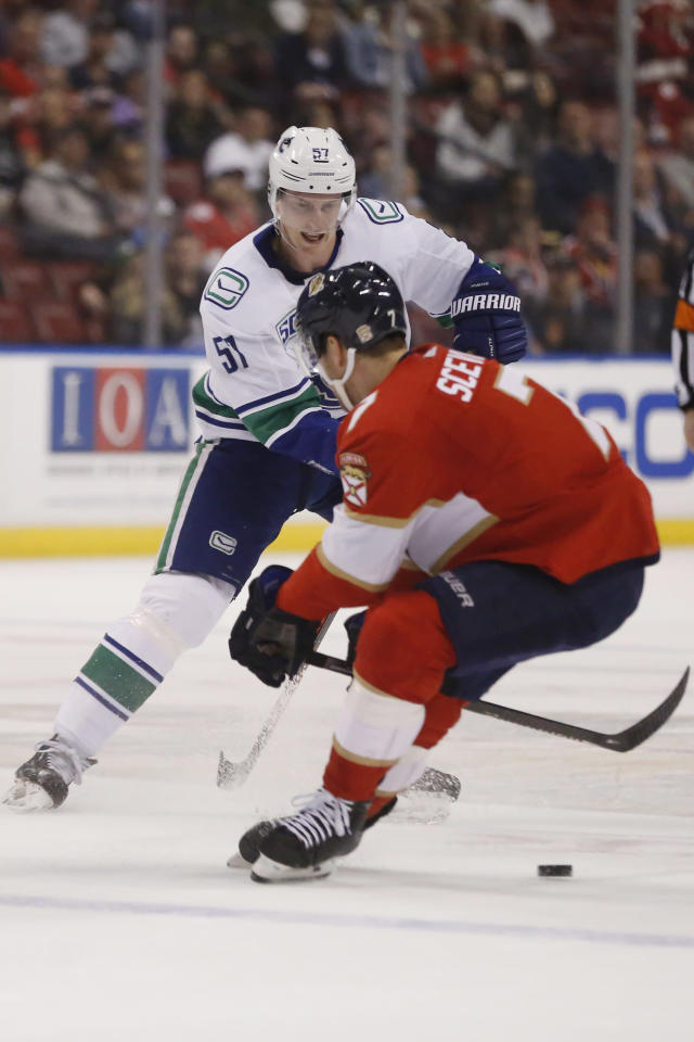 Vancouver Canucks defenseman Troy Stecher (51) skates for the puck against Florida Panthers center Colton Sceviour (7) during an NHL hockey game, Thursday, Jan. 9, 2020, in Sunrise, Fla. (AP Photo/Brynn Anderson)