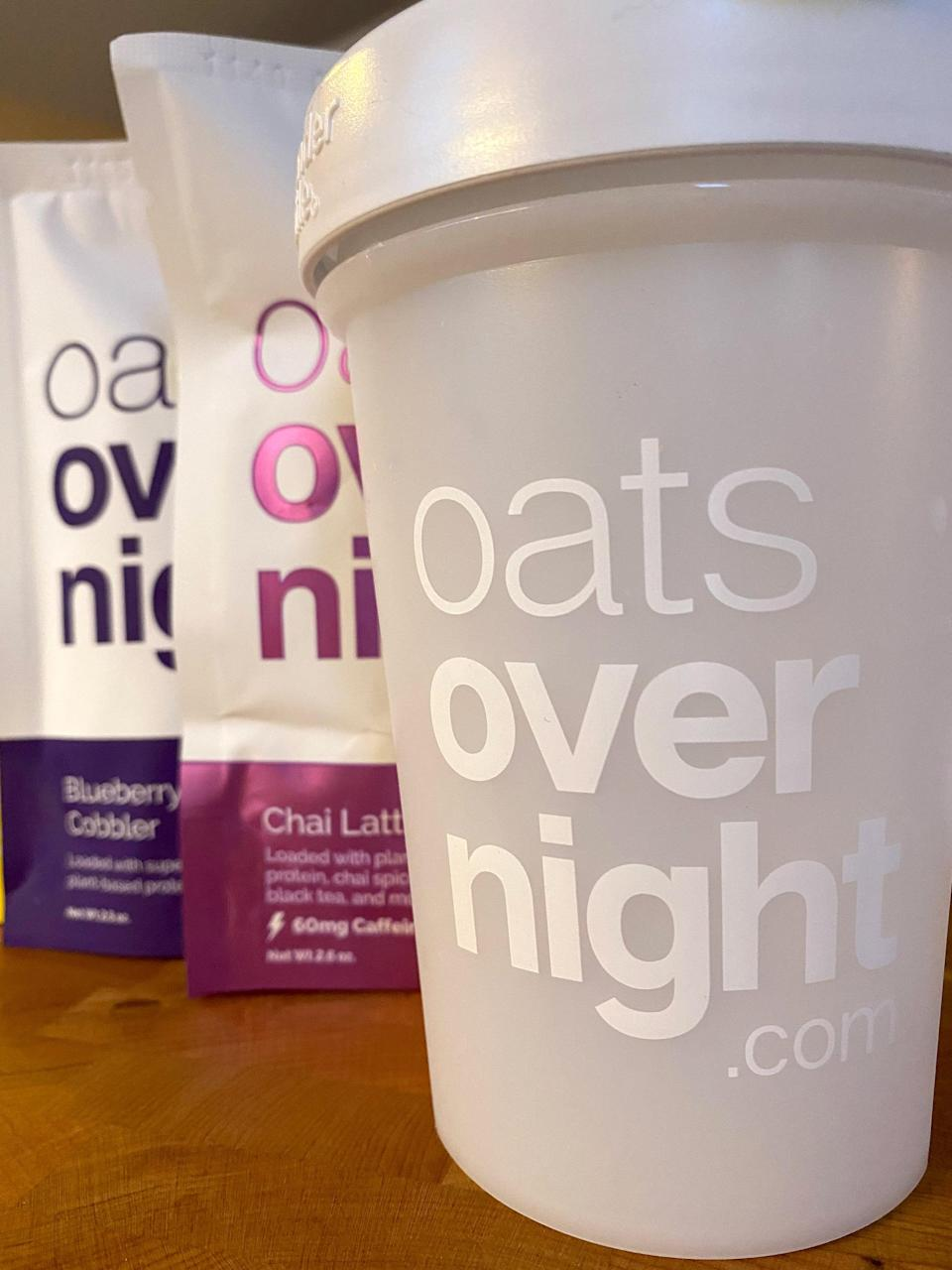 <p>My Oats Overnight came with a shaker bottle you'd use for protein shakes, but why? Because one way you can enjoy your Oats Overnight is by drinking them.</p> <p>Just fill the cup to the designated fill line with the milk of your choice (I used unsweetened soy milk), stir in the Oats Overnight packet, pop the container in the fridge, and in the morning, you just grab the bottle and drink it cold. Adding the one cup of milk makes it have more of a thick smoothie texture.</p> <p>Or if you prefer a spoonable consistency, just pour the packet into a bowl or mason jar, add less milk (I used three-quarters cup), and in the morning you can enjoy it like regular oatmeal, cold or warmed up.</p>
