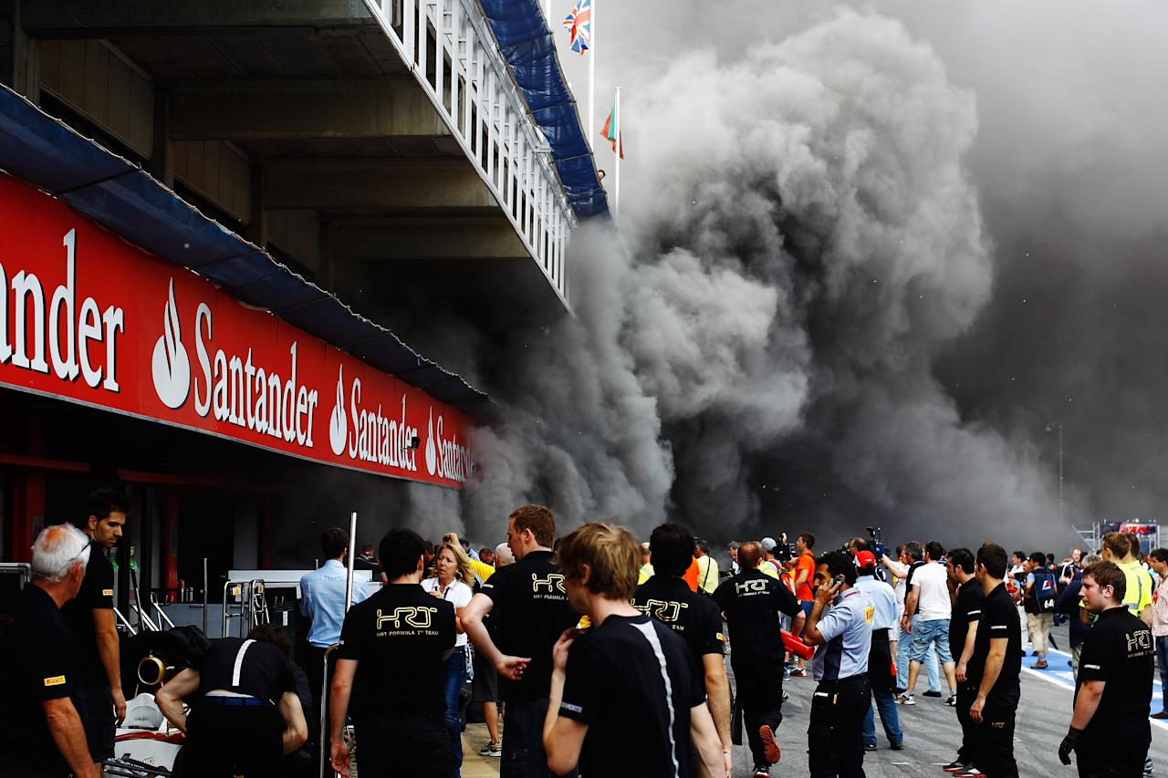 BARCELONA, SPAIN - MAY 13:  Extensive damage is caused as a fire breaks out at the back of the Williams team garage after they celebrated winning the Spanish Formula One Grand Prix at the Circuit de Catalunya on May 13, 2012 in Barcelona, Spain.  (Photo by Vladimir Rys/Getty Images)