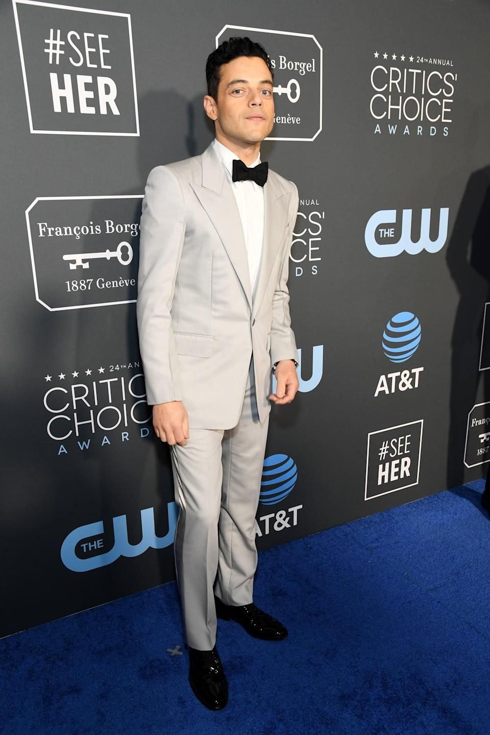 <p>Rami Malek wearing a Givenchy suit.</p>