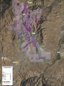 This detailed aerial view shows the survey areas of Comstock Mining's Dayton Consolidated and Spring Valley exploration targets in Lyon County, Nevada.