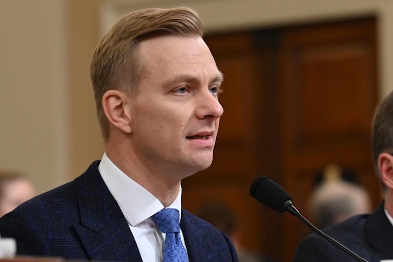 State department official David Holmes testifies before the Permanent Select Committee on Intelligence on Nov. 21, 2019.
