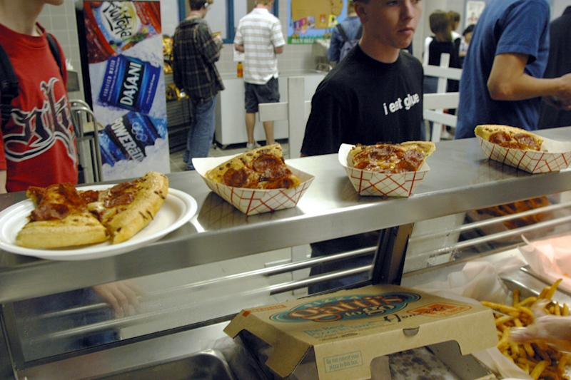 Students in the cafeteria at Bowie High School in Austin, Texas