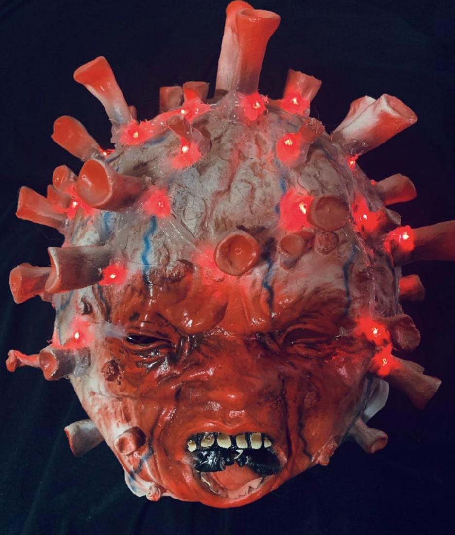 A close-up of Light Up Your Life's LED COVID-19 mask for Halloween. (Photo: Etsy)