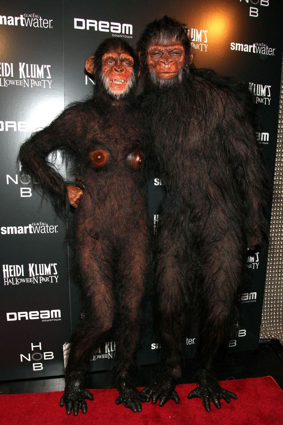 <p>A few days later, Heidi and Seal (oh, we miss them so) did a complete 180 in this head-to-toe hairy costume. They leaned on prosthetics for a life-like ape look.</p>
