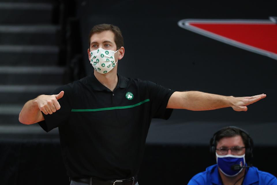 Boston Celtics head coach Brad Stevens against the Toronto Raptors during the second half at Amalie Arena. Mandatory Credit: Kim Klement-USA TODAY Sports