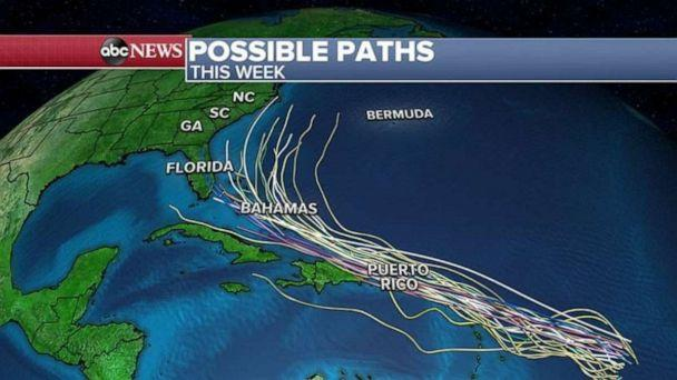PHOTO: The models take the system into the Bahamas over the weekend and somewhere off the Southeast U.S. coast sometime early next week. (ABC News)