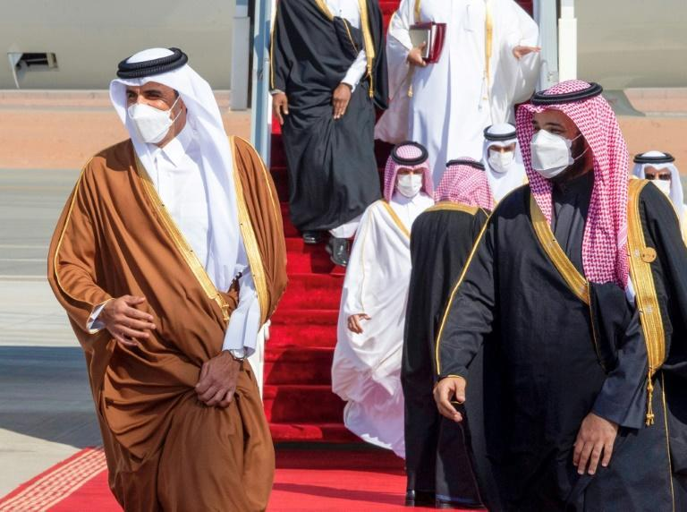 Qatar's ruler Sheikh Tamim bin Hamad Al-Thani is given a warm welcome by Saudi Crown Prince Mohammed bin Salman on his first visit after three and a half years of broken relations, fueling hopes of rapprochement at a Gulf summit