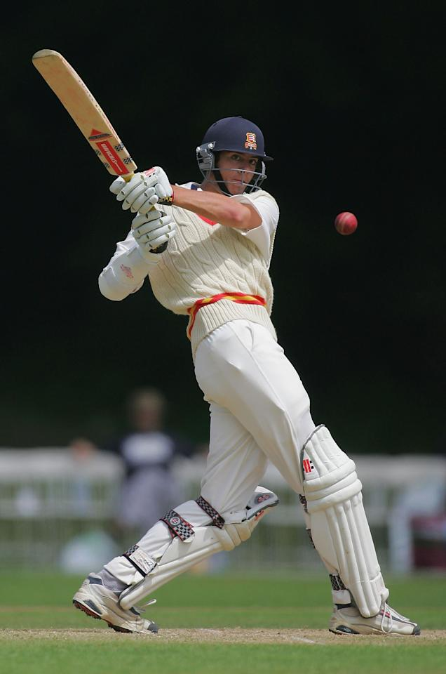 ARUNDEL - JULY 15:  19 year old Alastair Cook of MCC hooks a boundary off the bowling of Fidel Edwards during his innings of 89 in the friendly match between MCC and the West Indies at Arundel Park on July 15, 2004 in Arundel, England.  (Photo by Mike Hewitt/Getty Images)