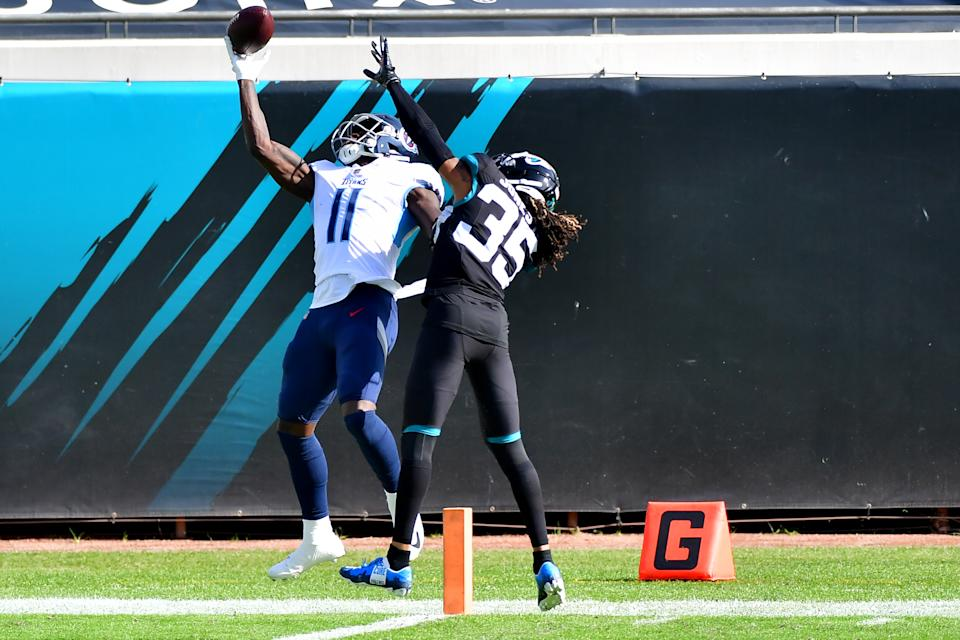 Titans wide receiver A.J. Brown made arguably the catch of the year against the Jaguars on Sunday. (Photo by Julio Aguilar/Getty Images)