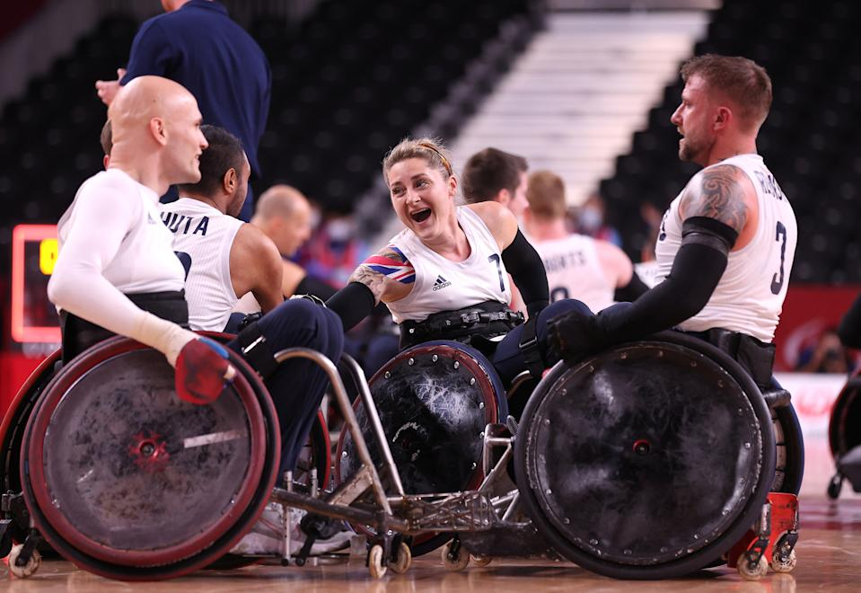 Kylie Grimes is the first woman to win gold at the mixed gender wheelchair rugby competition. (Alex Pantling/Getty Images)