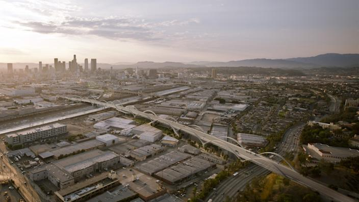 """A rendering of the Sixth Street Bridge by Michael Maltzan Architecture. Construction on the bridge, which connects downtown L.A. with Boyle Heights, has continued through the pandemic. <span class=""""copyright"""">(Bureau of Engineering, City of L.A. / Michael Maltzan Architecture / HNTB Corporation)</span>"""