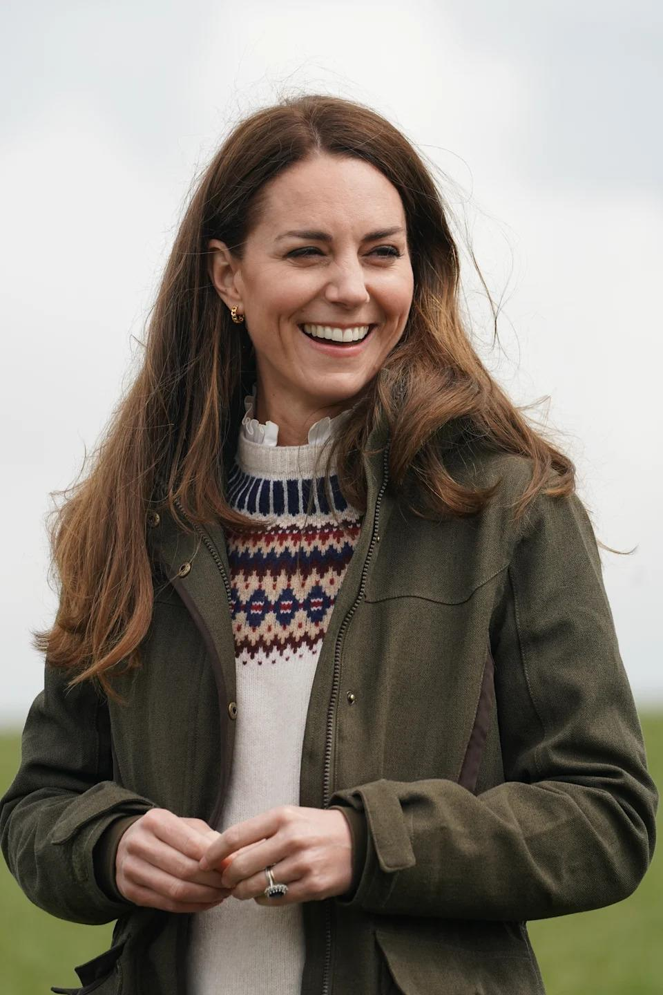 The Duchess of Cambridge during a visit to Manor Farm in Little Stainton on April 27, 2021. (PA)