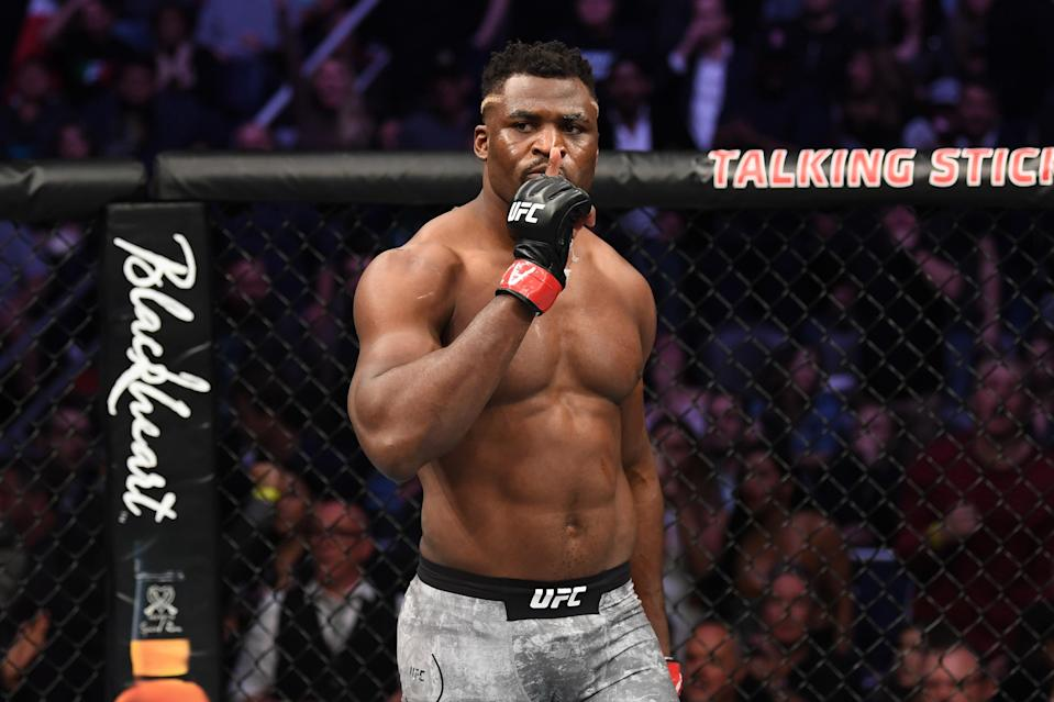 Francis Ngannou celebrates his KO victory over Cain Velasquez in their heavyweight bout during UFC Fight Night at Talking Stick Resort Arena on Feb. 17, 2019 in Phoenix. (Getty Images)