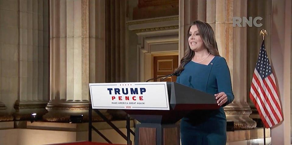 Rep. Elise Stefanik of New York, speaks during the Republican National Convention at the Mellon Auditorium in Washington, D.C. on Aug. 26, 2020.