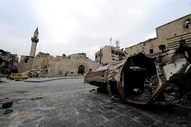 <p>A damaged vehicle is pictured in Khan al-Wazeer Street, in the Old City of Aleppo, Syria, Jan. 31, 2017. (Photo: Omar Sanadiki/Reuters) </p>