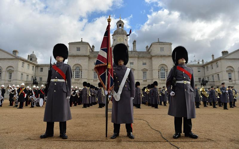 Ministry of Defence of soldiers on Horse Guards Parade in London ahead of the service - Credit: MOD