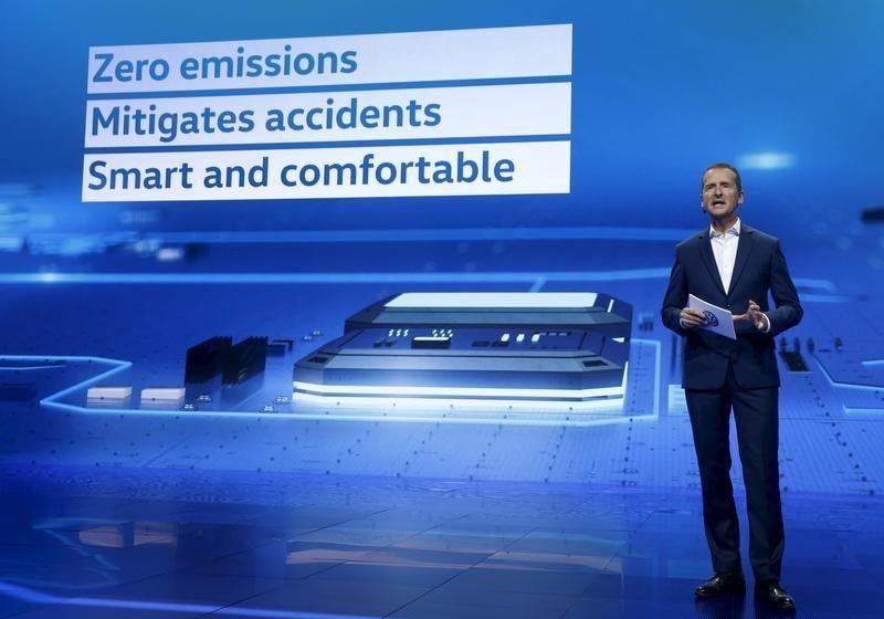 Chairman of Volkswagen Passenger Cars' board Diess speaks during a keynote address at the 2016 CES trade show in Las Vegas