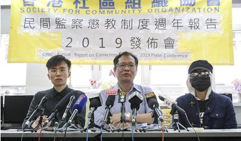 Richard Tsoi (centre) says there have been no improvements in the prison system this year. Photo: Edmond So
