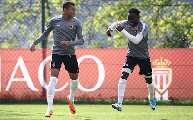 <span>Double goalscorer Kylian Mbappe (left) trains with Benjamin Mendy (left) who returns to the Monaco squad after injury</span> <span>Credit: Getty Images </span>