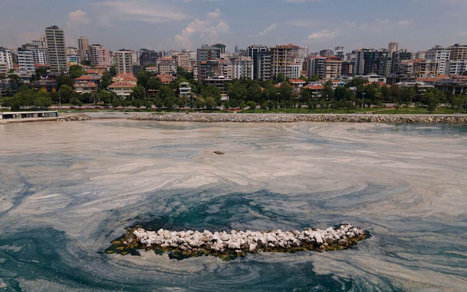 A view of the sea, on the Caddebostan shore, on the Asian side of Istanbul