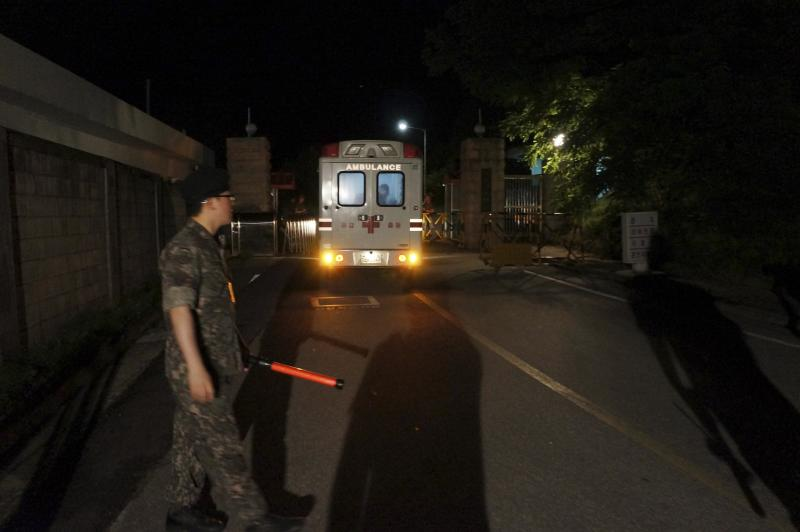 An ambulance transporting a wounded soldier arrives at an army hospital in Gangneung