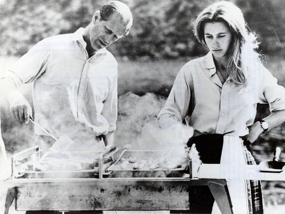 Prince Philip grills with Princess Anne