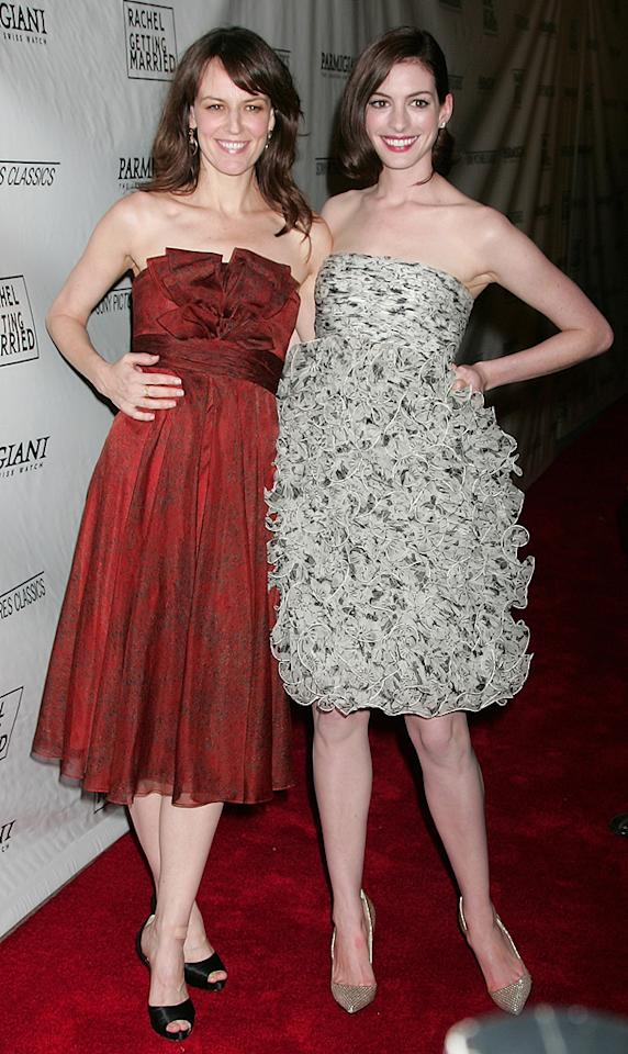 """<a href=""""http://movies.yahoo.com/movie/contributor/1809160790"""">Rosemarie DeWitt</a> and <a href=""""http://movies.yahoo.com/movie/contributor/1804705919"""">Anne Hathaway</a> at the Los Angeles premiere of <a href=""""http://movies.yahoo.com/movie/1809961213/info"""">Rachel Getting Married</a> - 09/15/2008"""