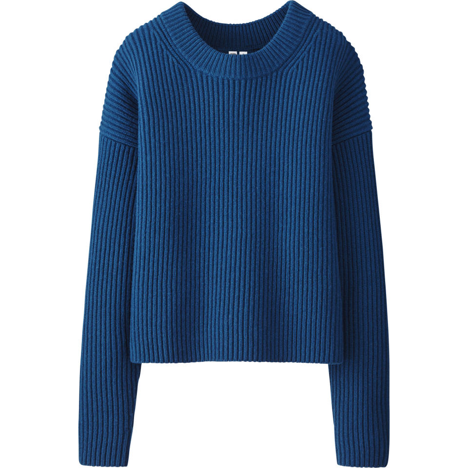 "<p>Uniqlo U Lambswool Cropped Crewneck Sweater, $59.90, <a rel=""nofollow"" href=""http://www.uniqlo.com/UniqloU/us/"">uniqlo.com</a> </p>"