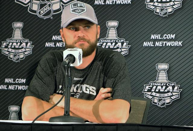 Los Angeles Kings' Marian Gaborik takes questions from the media at a news conference in El Segundo, Calif., Thursday, June 5, 2014. Los Angeles Kings beat the New York Rangers 3-2 on Wednesday night in the Stanley Cup finals opener. Game 2 is Saturday at Staples Center. (AP Photo/The Canadian Press, Neil Davidson)
