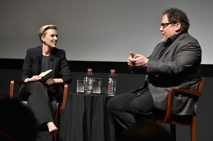 carlett Johansson and Jon Favreau speaks onstage at Tribeca Talks