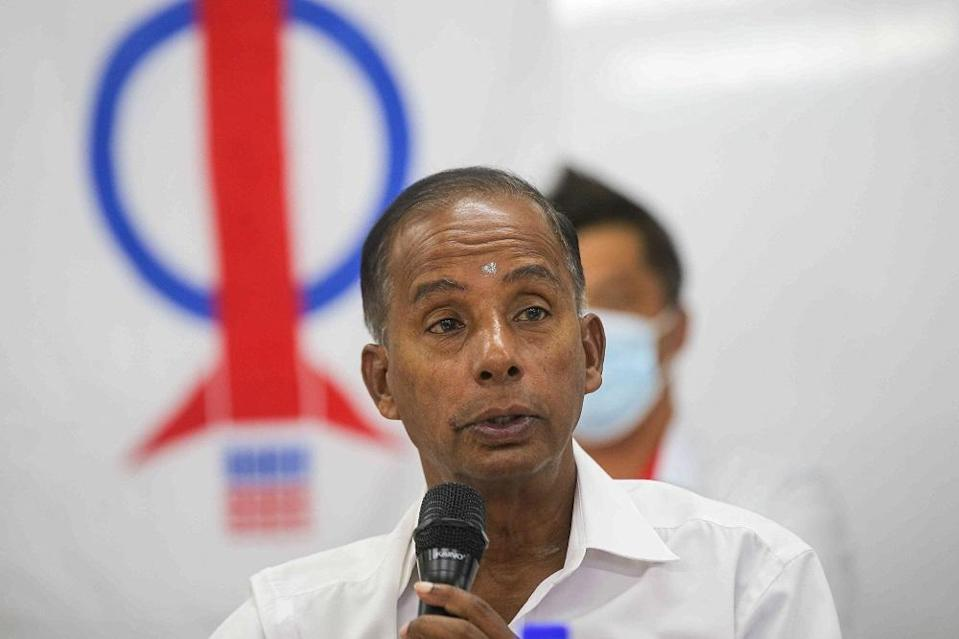 Ipoh Barat MP M. Kulasegaran speaks during a press conference in Ipoh March 5, 2021. — Picture by Farhan Najib