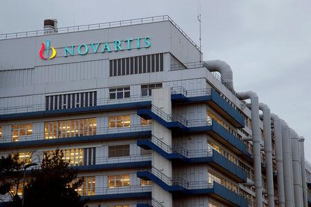 Logo of Swiss drugmaker Novartis is seen at its branch in Schweizerhalle near Basel