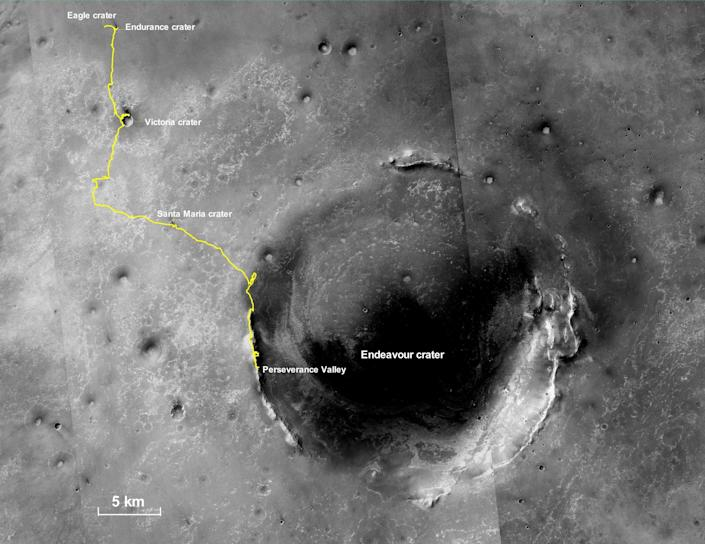 "This final traverse map for NASA's Opportunity rover shows where the rover was located within Perseverance Valley the last date it made contact with its engineering team on June 10, 2018. <p class=""copyright"">NASA/JPL-Caltech/MSSS</p>"
