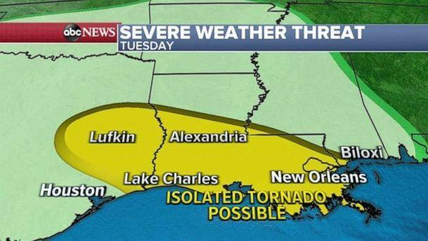 PHOTO: There are more than 4 million people are on alert today for severe weather from Lufkin, Texas, to New Orleans, Louisiana.  (ABC News)