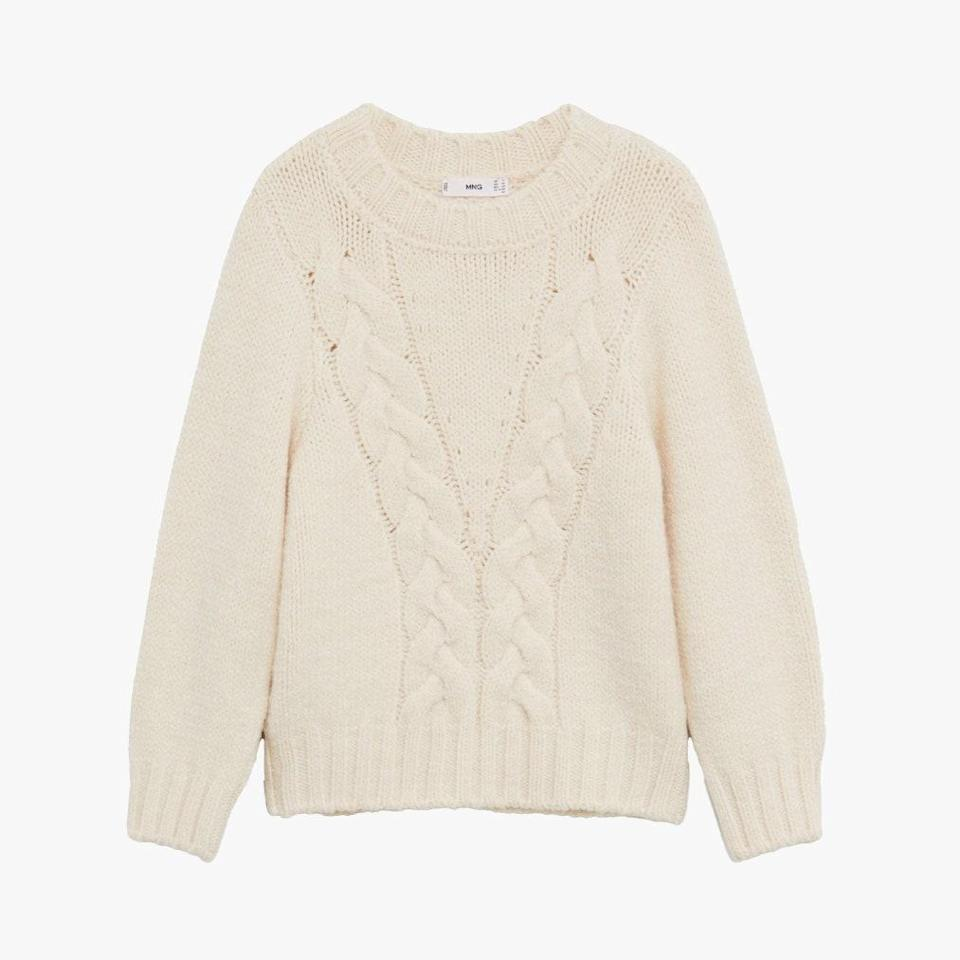 """$50, MANGO. <a href=""""https://shop.mango.com/us/women/cardigans-and-sweaters-sweaters/openwork-cable-knit-sweater_77015949.html?c=05"""" rel=""""nofollow noopener"""" target=""""_blank"""" data-ylk=""""slk:Get it now!"""" class=""""link rapid-noclick-resp"""">Get it now!</a>"""