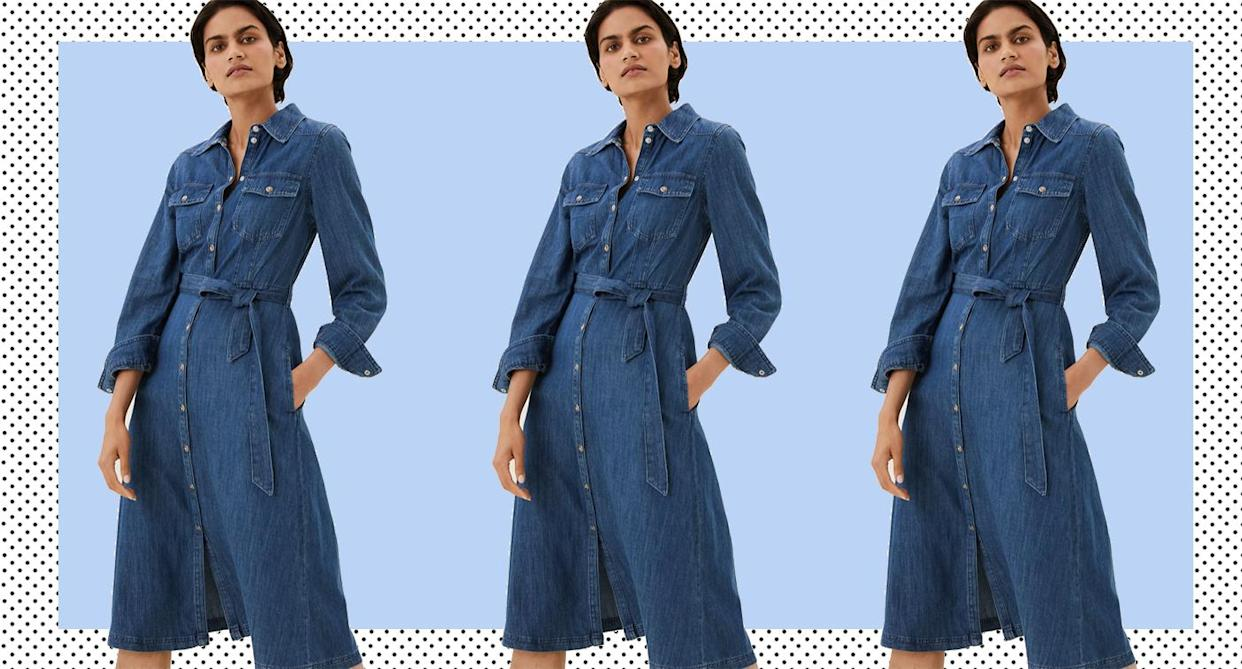 The denim midi to add to your wardrobe this autumn. (Marks and Spencer)