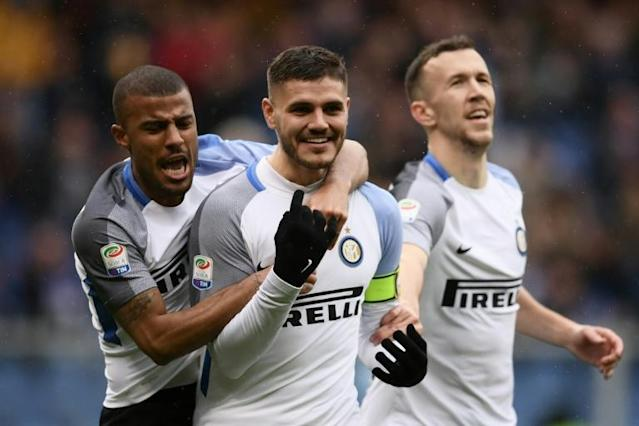 Mauro Icardi scored three goals in 14 minutes in a four-goal haul for Inter Milan to smash through the century barrier