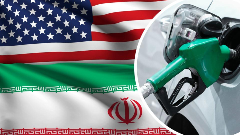 Pictured: Petrol pump, American and Iran flags. Images: Getty