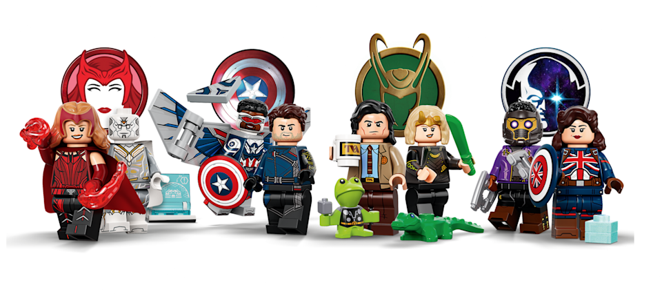 A dozen Marvel Studio LEGO minifigures standing next to each other in action poses.