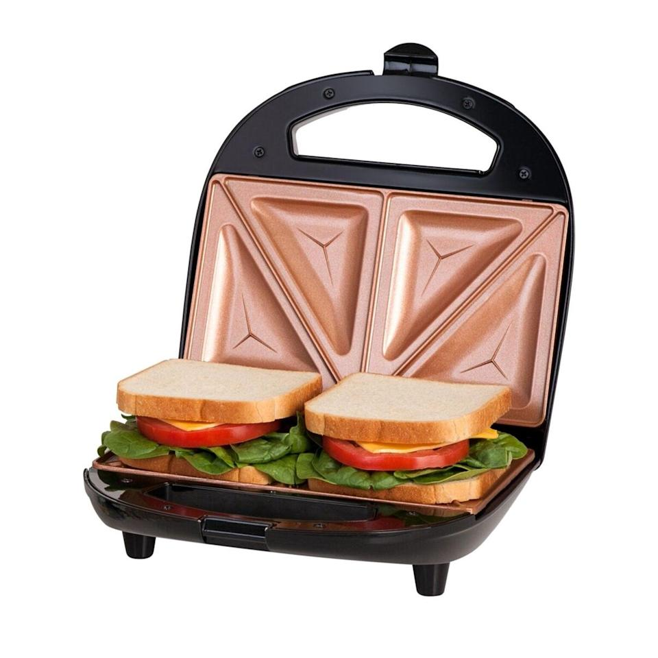 <p>The <span>Gotham Steel Dual Electric Sandwich Maker and Panini Grill</span> ($20) has a nonstick copper surface so you can make the most delish sandwiches hassle-free.</p>