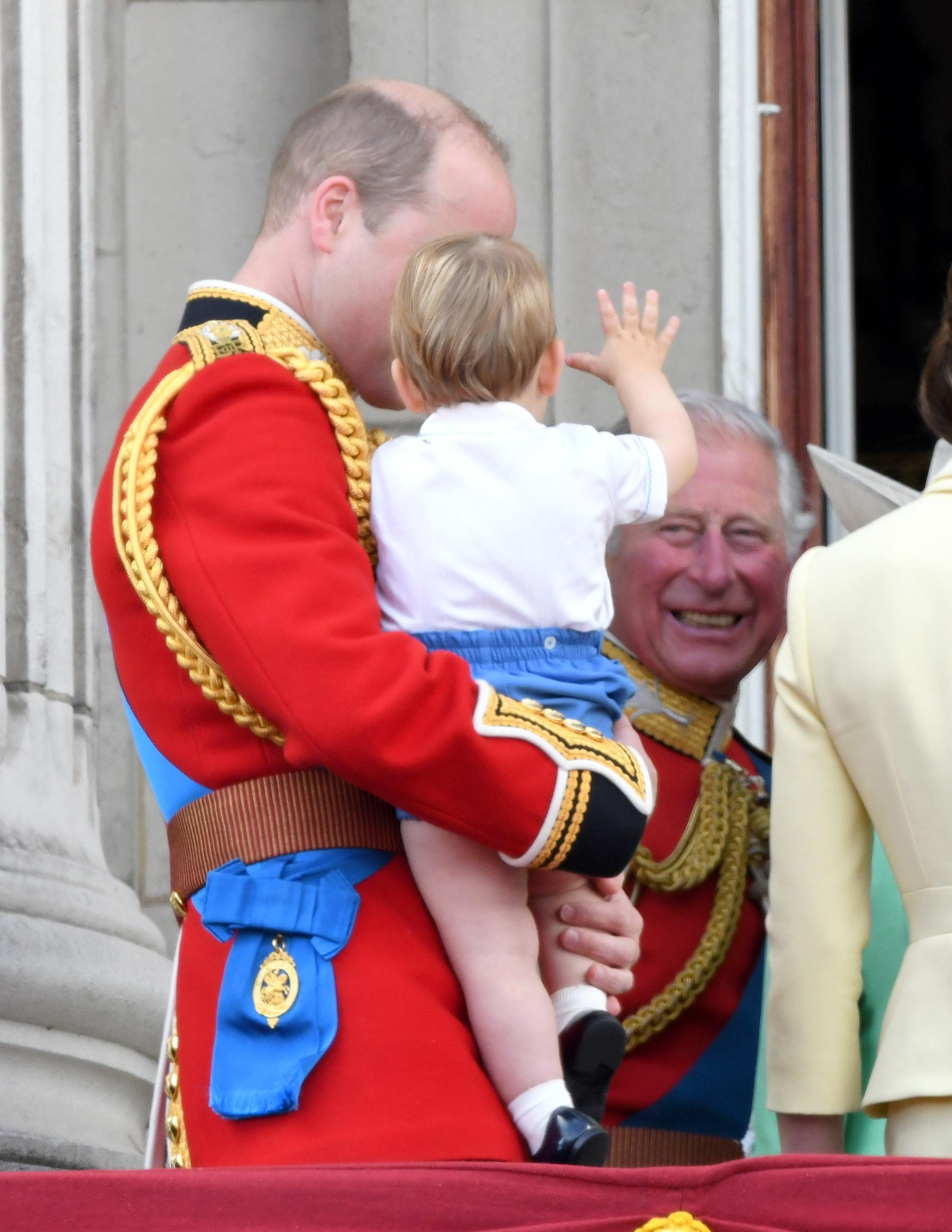 LONDON, ENGLAND - JUNE 08: Prince Louis, Prince William, Duke of Cambridge and Prince Charles, Prince of Wales appear on the balcony during Trooping The Colour, the Queen's annual birthday parade, on June 08, 2019 in London, England. (Photo by Karwai Tang/WireImage)