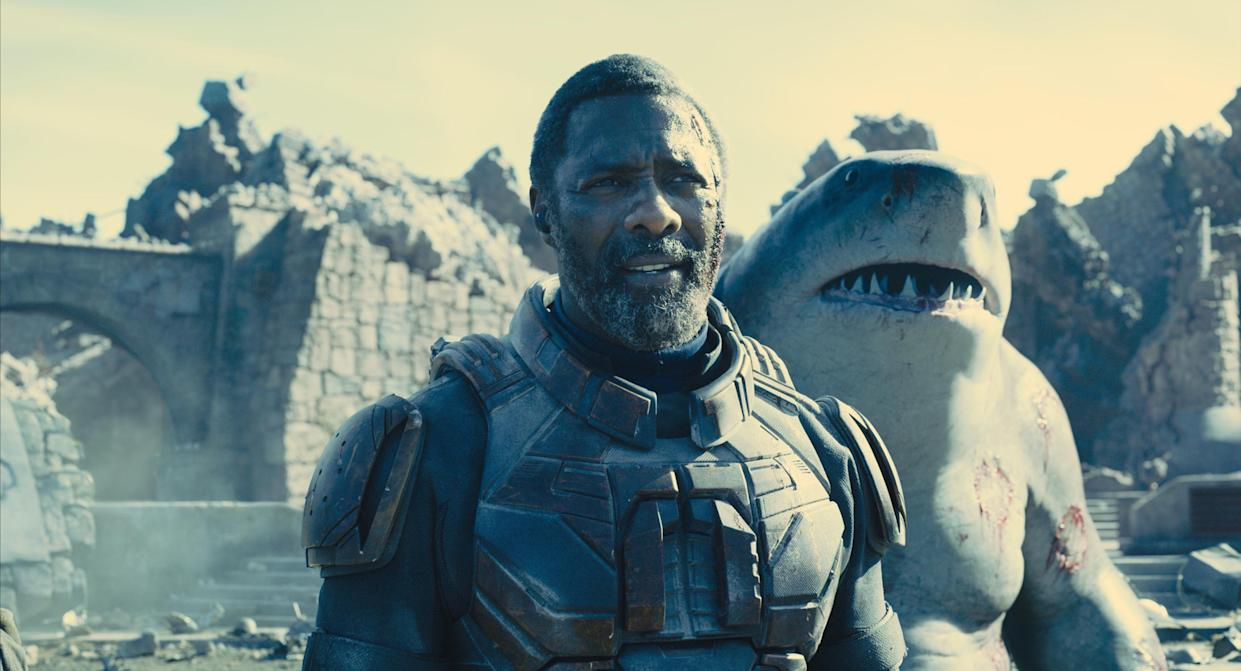 Idris Elba and King Shark in The Suicide Squad (Warner Bros)