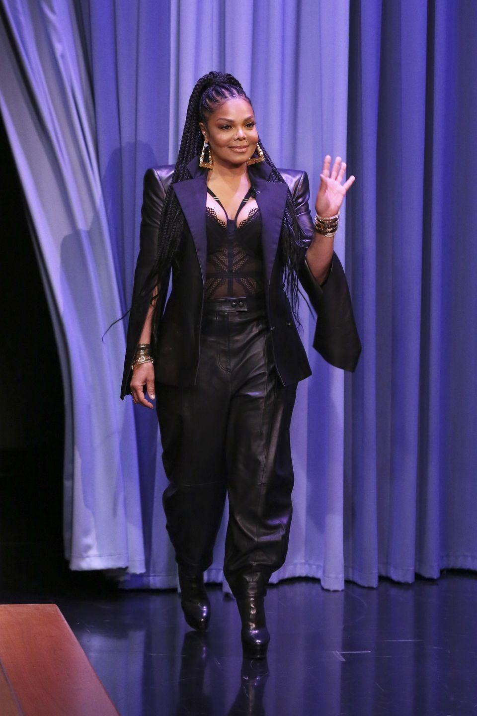 """<p>Going on tour takes a certain level of fitness—and Janet makes it look easy, even at 54. Her trainer, Paula Sybliss revealed to <a href=""""https://www.eonline.com/news/895250/janet-jackson-s-trainer-reveals-how-the-new-mom-lost-70-pounds-without-any-cardio"""" rel=""""nofollow noopener"""" target=""""_blank"""" data-ylk=""""slk:E! News"""" class=""""link rapid-noclick-resp""""><em>E! News</em></a> that they started prepping for life on the road (with a goal to shape up) just six weeks after Janet gave birth to daughter Eissa in January 2017. Thanks to weight training (not to mention hours spent dancing on stage), Jackson <a href=""""https://www.cnn.com/2017/11/21/entertainment/janet-jackson-weight-loss"""" rel=""""nofollow noopener"""" target=""""_blank"""" data-ylk=""""slk:lost 70 pounds"""" class=""""link rapid-noclick-resp"""">lost 70 pounds</a>.<br></p>"""