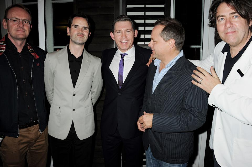 LONDON, ENGLAND - SEPTEMBER 27:  (EMBARGOED FOR PUBLICATION IN UK TABLOID NEWSPAPERS UNTIL 48 HOURS AFTER CREATE DATE AND TIME. MANDATORY CREDIT PHOTO BY DAVE M. BENETT/GETTY IMAGES REQUIRED)  (L to R) Sean Lock, Jimmy Carr, Lee Evans, Jack Dee and Jonathan Ross attend the book launch of