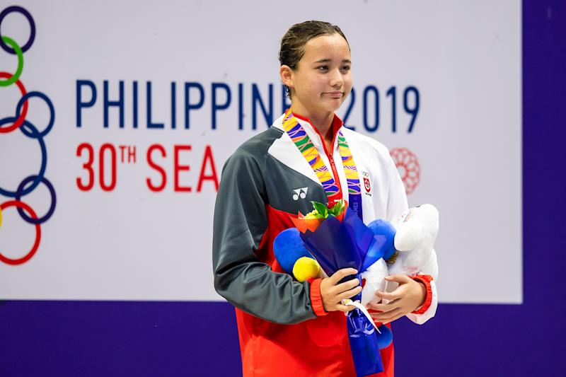 Singapore swimmer Elena Pedersen wins gold in the women's 50m backstroke at the SEA Games. (PHOTO: SNOC/Andy Chua)