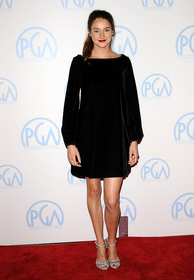 Shailene Woodley attends the 23rd annual Producers Guild Awards at The  Beverly Hilton hotel on January 21, 2012 in Beverly Hills, California.